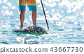 Detail of young man standing on paddleboard. 43667730