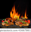 Various meat being grilled, isolated on black 43667861