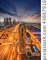 Dubai sunset panoramic view of downtown 43667916