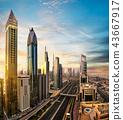 Dubai sunset panoramic view of Burj Khalifa 43667917
