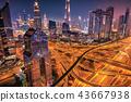 Dubai sunset panoramic view of Burj Khalifa 43667938
