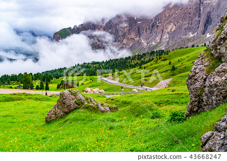 Beautiful landscape of the Dolomites at Sella pass 43668247