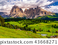 View of the beautiful Langkofel group of Dolomites 43668271
