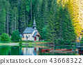 Morning view of small old church at Lake Braies 43668322