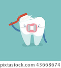 Brace tooth brushing with toothbrush, dental  43668674