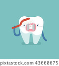 Brace tooth brushing with toothbrush, dental  43668675