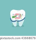 Food stuck in brace tooth, dental concept design  43668676