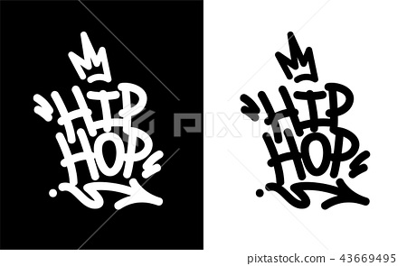 Hip Hop Tag Graffiti Style Label Lettering. 43669495