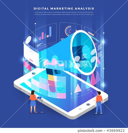 Isometric digital marketing teamwork 43669922