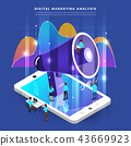 Isometric digital marketing teamwork 43669923
