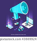 Isometric digital marketing teamwork 43669924