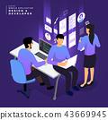 Isometric business UI/UX Team 43669945