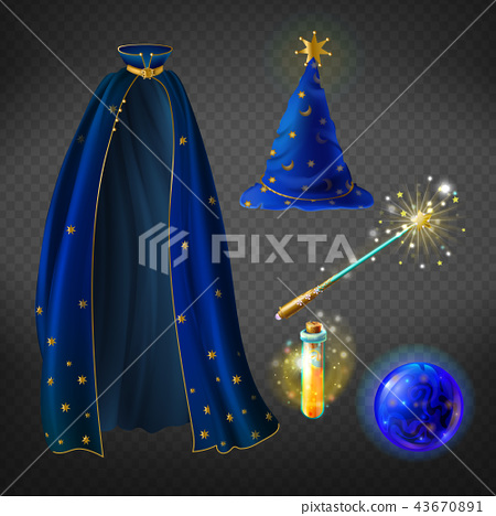 Vector blue wizard costume, set with accessories 43670891