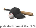 3d rendering of a white baseball with red stitching, black baseball cap and wooden bat on white 43670974