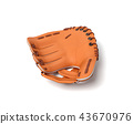 3d rendering of a single orange baseball mitt lying on a white background. 43670976