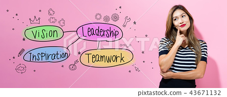 Leadership concept with young businesswoman  43671132