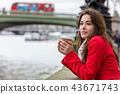 Woman Drinking Coffee Westminster Bridge, London 43671743