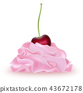 Cherry on top of  pink whipped cream  43672178