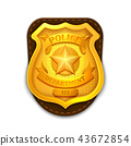 Gold realistic police, detective vector badge with shield 43672854