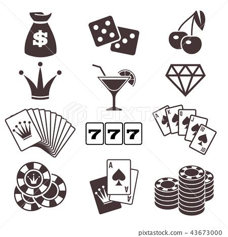 Gambling, poker card game, casino, luck vector icons set 43673000