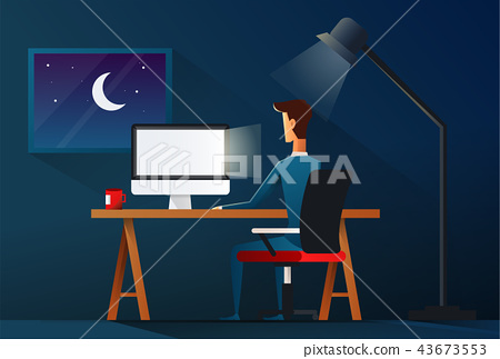 Business man working late night. workload concept - vector illustration 43673553