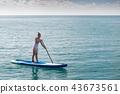 Sea series: Asian woman paddling SUP board 43673561