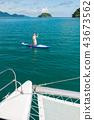 Sea series: Asian woman paddling SUP board 43673562