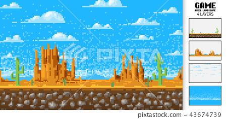Landscape Background Pixel Art 8 Bit Game Stock