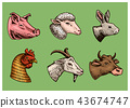Farm animals. Head of a domestic pig goat cow rabbit sheep. Logos or emblems for signboard. Set of 43674747