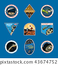 Set of Space logo. Human mission to Mars. Exploration of the astronomical galaxy. Astronaut or 43674752
