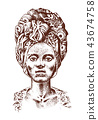 African woman, portraits of Aborigines in traditional costumes. Warlike native female. Engraved hand 43674758