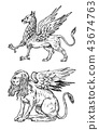 Mythological animals. Mythical Sphinx and antique Griffin. Ancient Birds, fantastic creatures in the 43674763