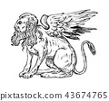 Mythological animals. Mythical Sphinx. Ancient human bird, fantastic creatures in the old vintage 43674765