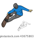 Snowboarder with helmet jumping through air  43675863