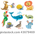 Cute animals vector set in cartoon style 43679469