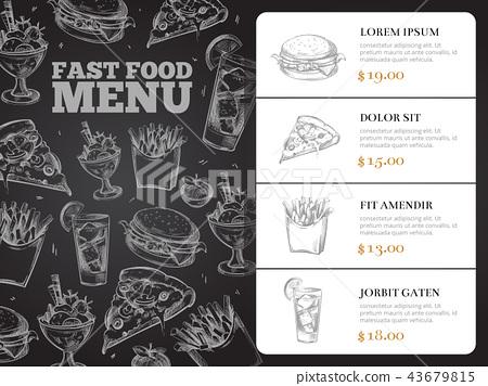 Restaurant brochure vector menu design with hand-drawn fast food 43679815