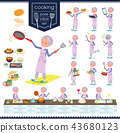 flat type blue one piece old women_cooking 43680123
