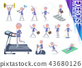flat type blue one piece old women_exercise 43680126