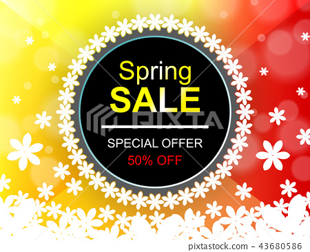 Sale offer poster spring design layout 43680586