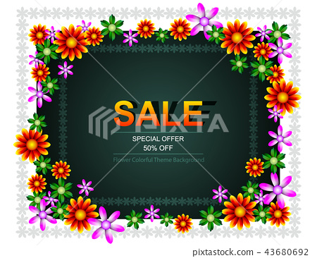 Sale offer poster spring summer design layout 43680692