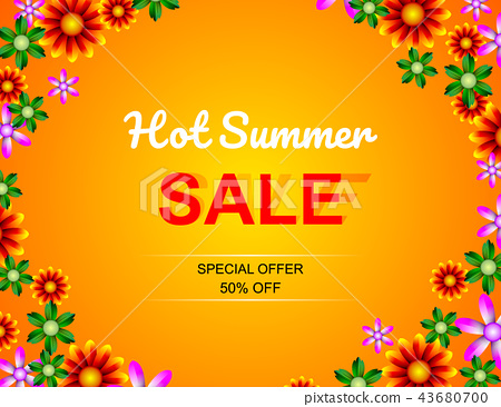 Sale offer poster spring summer design layout 43680700