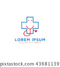 Medical cross logo design template 43681139