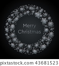Silver Wreath Snowflakes New Year Christmas Frame. 43681523