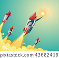 Businessmen team standing on rocket ship flying through on sky. Start up business concept. Vector 43682419