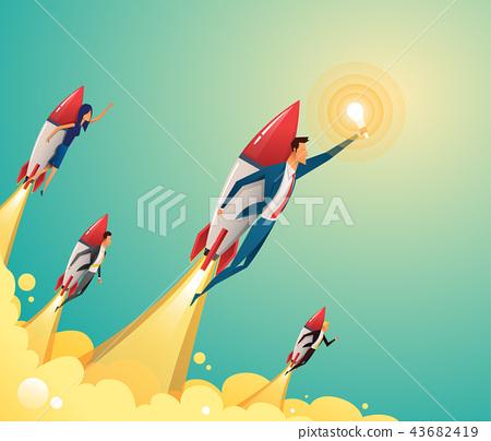 Businessmen team standing on rocket ship flying through on sky. Start up business concept. Vector 43682419