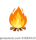 Vector campfire and camping sign in cartoon style illustration. Burning wood pile, fireplace or 43684014