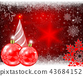 Christmas red background with red balls and snowflakes and a Christmas tree. 43684152