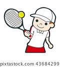 愉快地打網球的一個年輕男孩的例證。 43684299