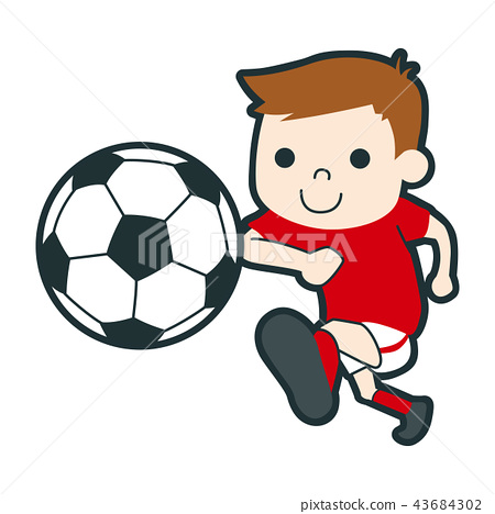 Illustration of a young boy playing soccer well. 43684302