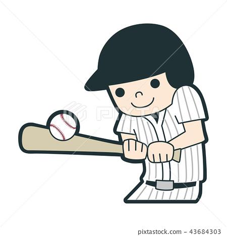 愉快地打棒球的一個年輕男孩的例證。 43684303